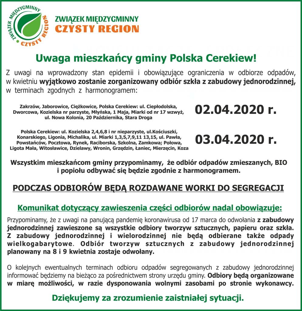 Komunikat Polska Cerekiew odbiory kwiecien koronawirus.jpeg